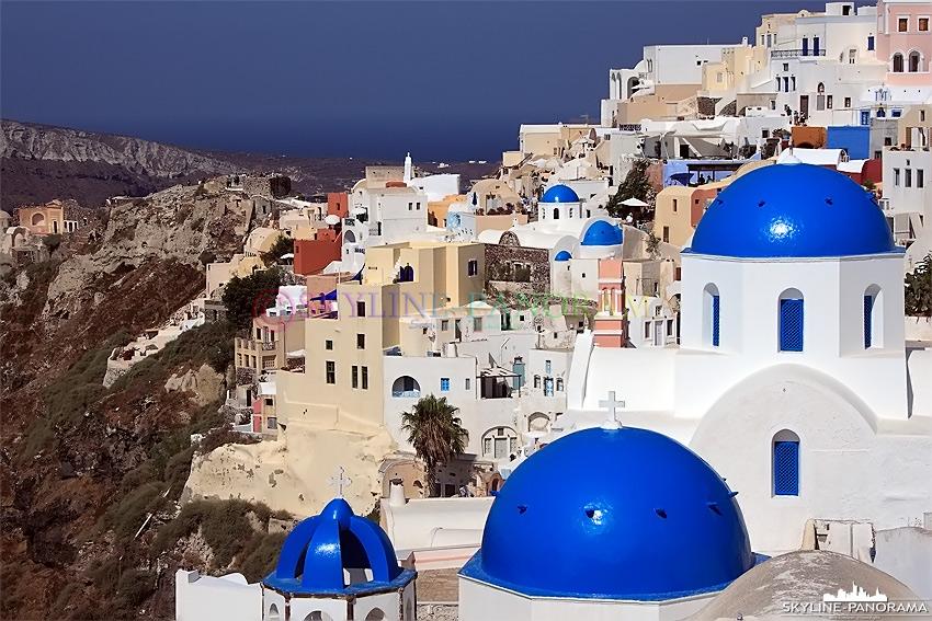 Santorini Griechenland Kirchen In Oia Skyline Panorama De
