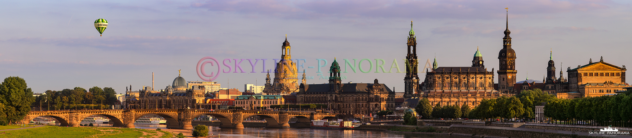 Dresden Panorama mit Heißluftballon