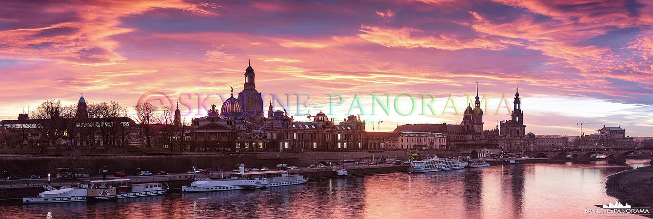 Skyline Dresden zum Sonnenuntergang