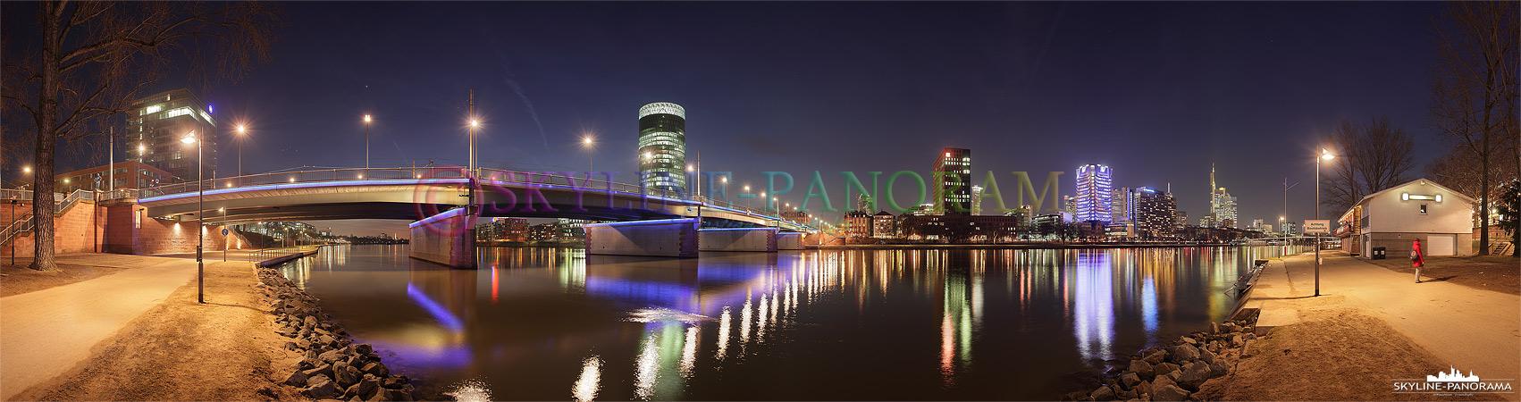 Panorama Frankfurt Mainufer - Das westliche Frankfurter Mainufer in Höhe der Friedensbrücke.