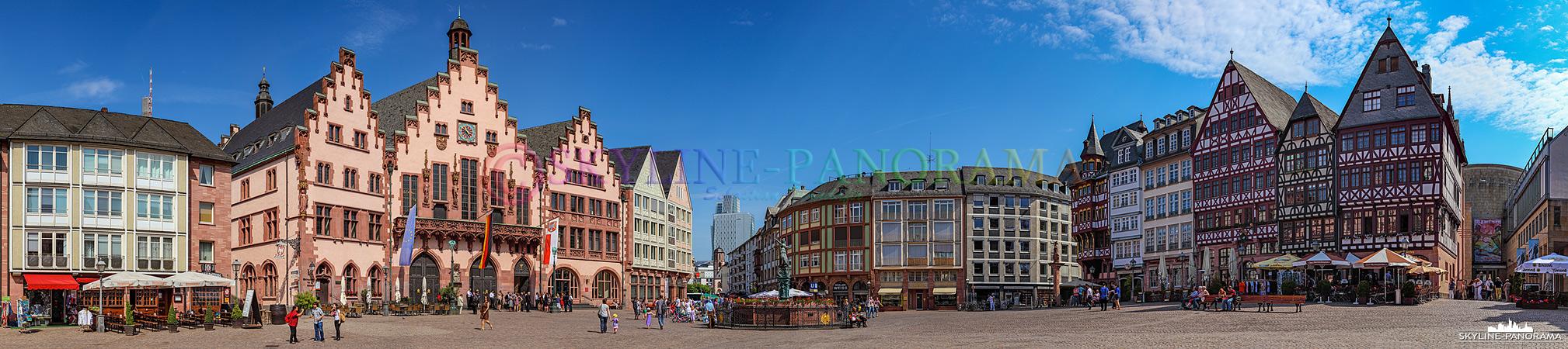Frankfurt Bilder am Tag - Der historische Frankfurter Römerberg mit dem als Römer bezeichneten Rathaus gehören zu den bekanntesten Sehenswürdigkeiten der Mainmetropole.