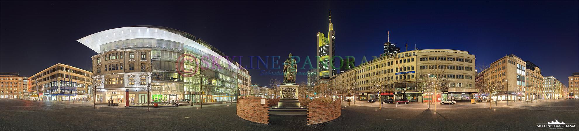 Frankfurter Plätze - Innenstadt Goetheplatz | 360° Panorama aus der Frankfurter Innenstadt, es zeigt den neu gestalteten Goetheplatz mit dem namensgebenden Dichter als Denkmal im Zentum.