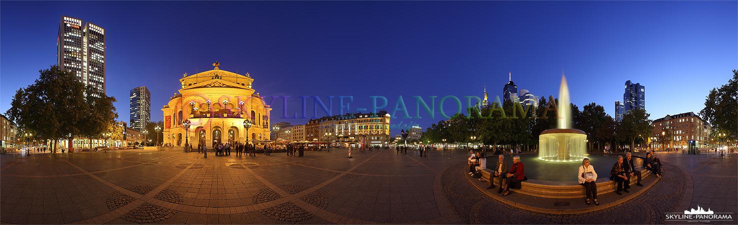 Frankfurt Opernplatz - Alte Oper und Opernturm | Dieses 360 Grad Panorama zeigt den Opernplatz mit der historischen Alten Oper Frankfurt, dem wunderbar illuminierten Lucae - Brunnen und dem in dieser Perspektive alles überragenden Opernturm. Die Aufnahme entstand in der Dämmerung, kurz vor der einbrechenden Nacht, in der so genannten Blauen Stunde.