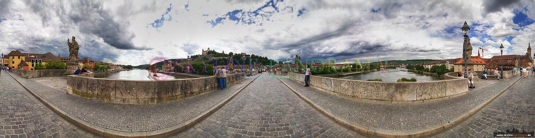 Panorama Würzburg - Die Alte Mainbrücke als 360 Grad Panorama am Tag fotografiert.