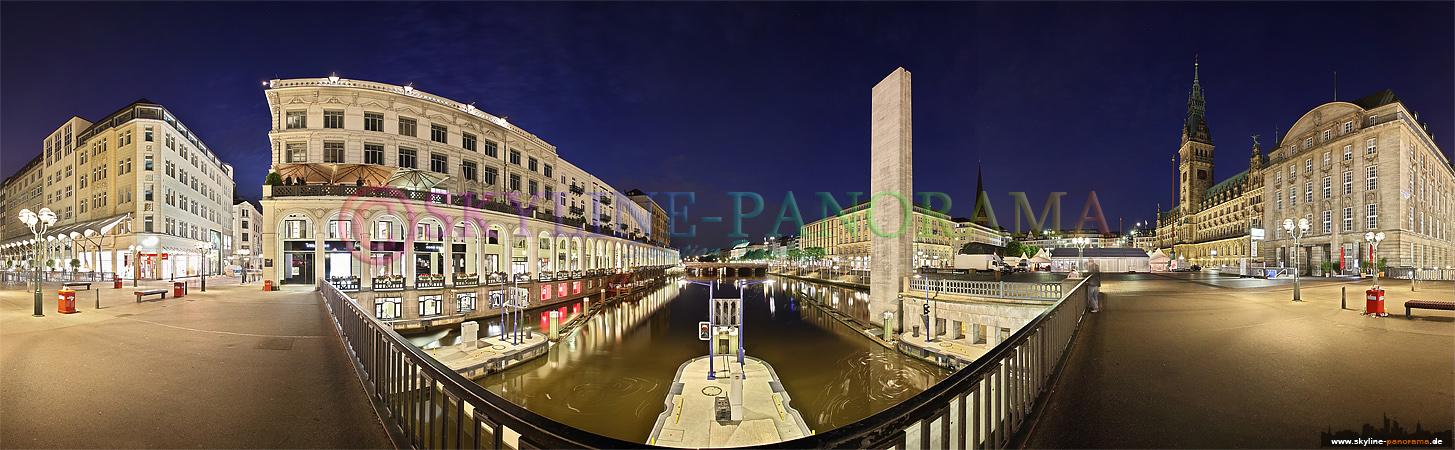 Bilder Schleusenbrücke - Panorama der Schleusenbrücke mit Alsterarkaden und Rathaus in der Hamburger Innenstadt.