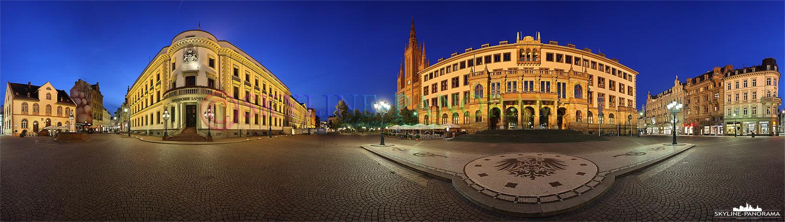 Wiesbaden Bilder - 360° Panorama auf dem Schloßplatz in Wiesbaden, auf dem Bild sind die Marktkirche, das Stadtschloß & das Neue Rathaus zu sehen.