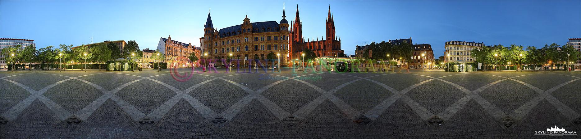Bilder aus Wiesbaden - 360° Panoramabild aus dem Zentrum des Marktplatzes in Wiesbaden.