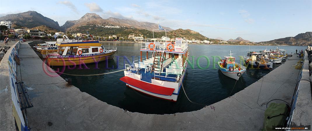 der Hafen von der im Süden der Insel Kreta gelegenen Stadt Plakias