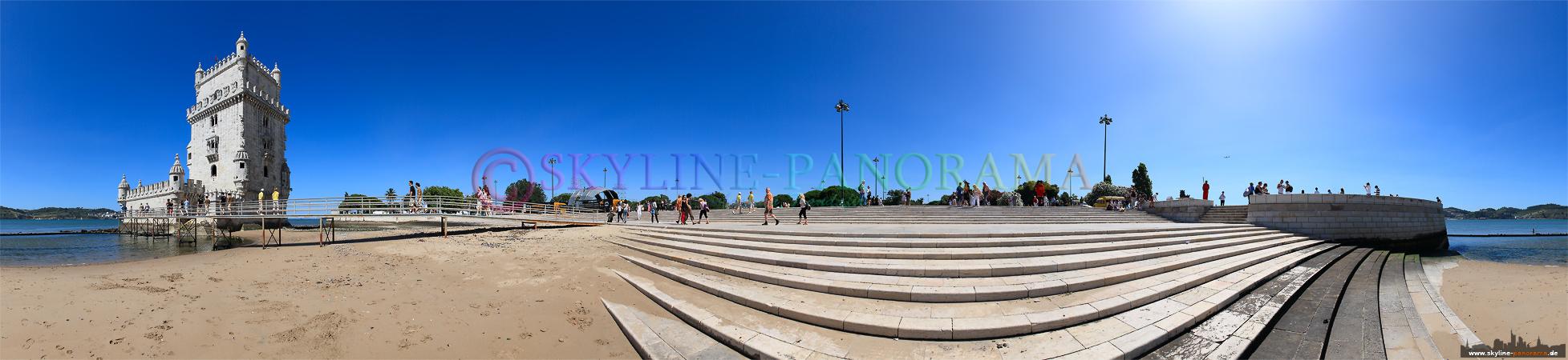 Portugal Bilder Lissabon - Am Fluß Tejo, links im Bild ist das bekannte Torre de Belem zu sehen.