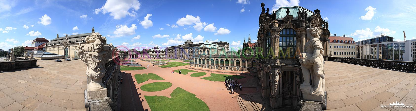 Bilder aus Dresden - Panorama mit Blick in dem Innenhof des Dresdner Zwingers und auf den Glockenspielpavillon.