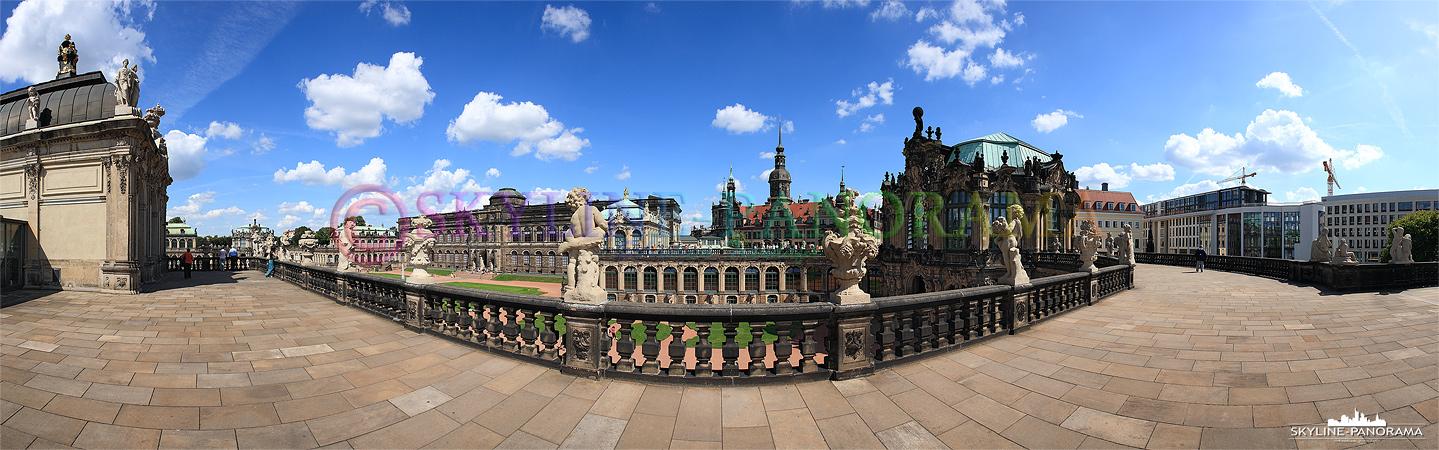 Zwinger Bilder - Panoramablick mit dem Glockenspielpavillon auf der Galerie des Dresdner Zwingers.