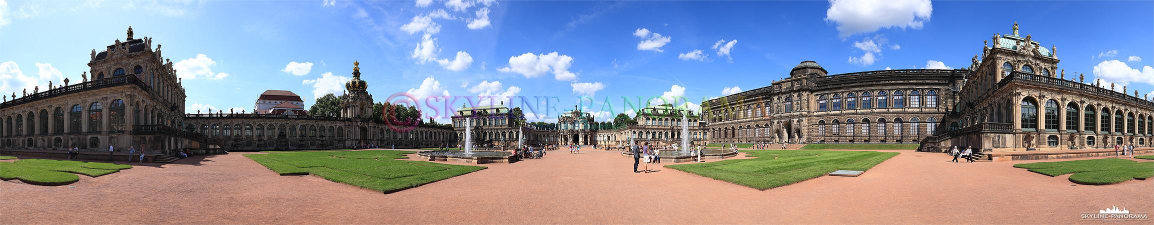 Eines der bekanntesten Sehenswürdigkeiten von Dresden ist der Zwinger, dieses Panorama zeigt die Ansicht vom Innenhof aus mit dem Wallpavillon in Zentrum.