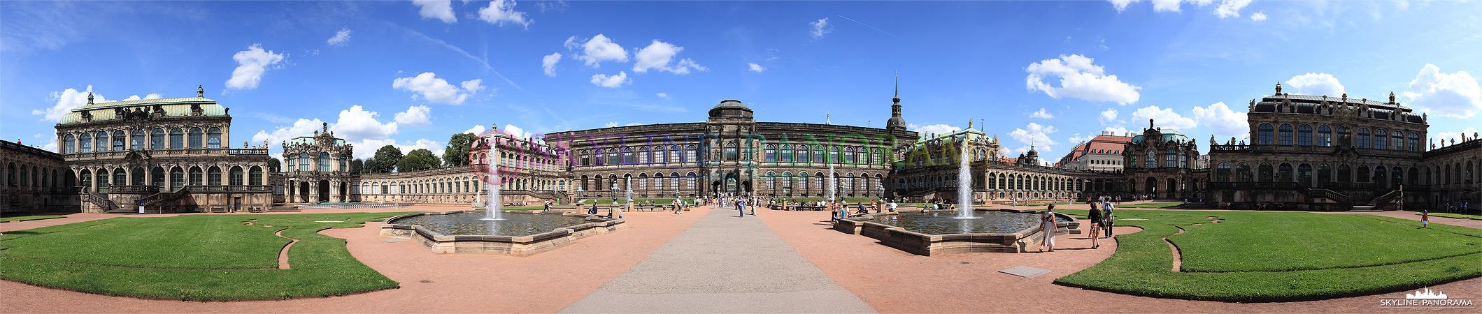 Dresdner Zwinger Panorama aus dem Innenhof mit Blick auf den Mathematisch-Physikalischer Salon, dem Wallpavillon, dem Französischen Pavillon, der Rüstkammer im Zentrum, weiter zum Deutschen Pavillon und am rechten Bildende den Glockenspielpavillon.