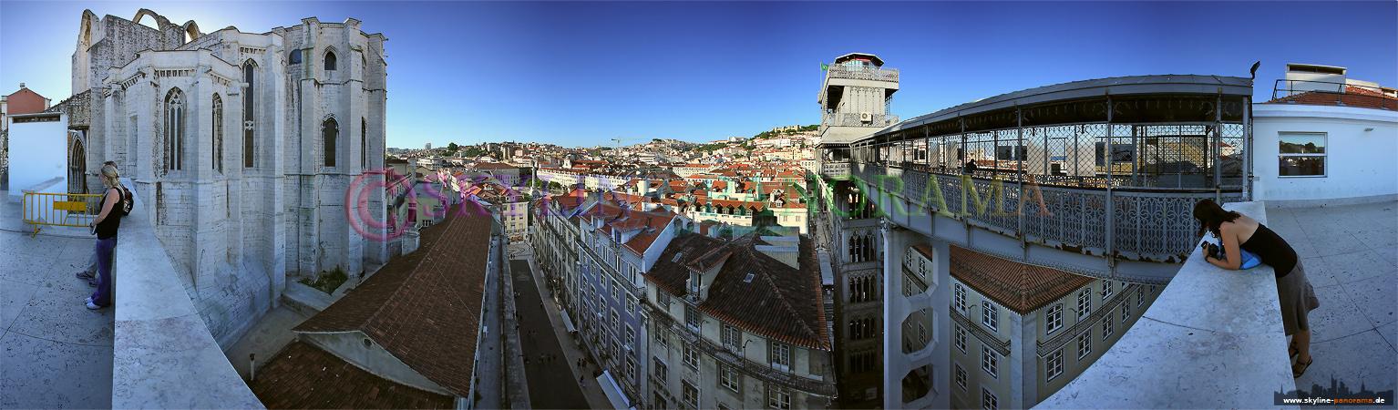 Portugal Bilder Lissabon - Der Elevador (Aufzug) da Santa Justa verbindet den Rossio mit dem Stadtteil Bairro Alto.