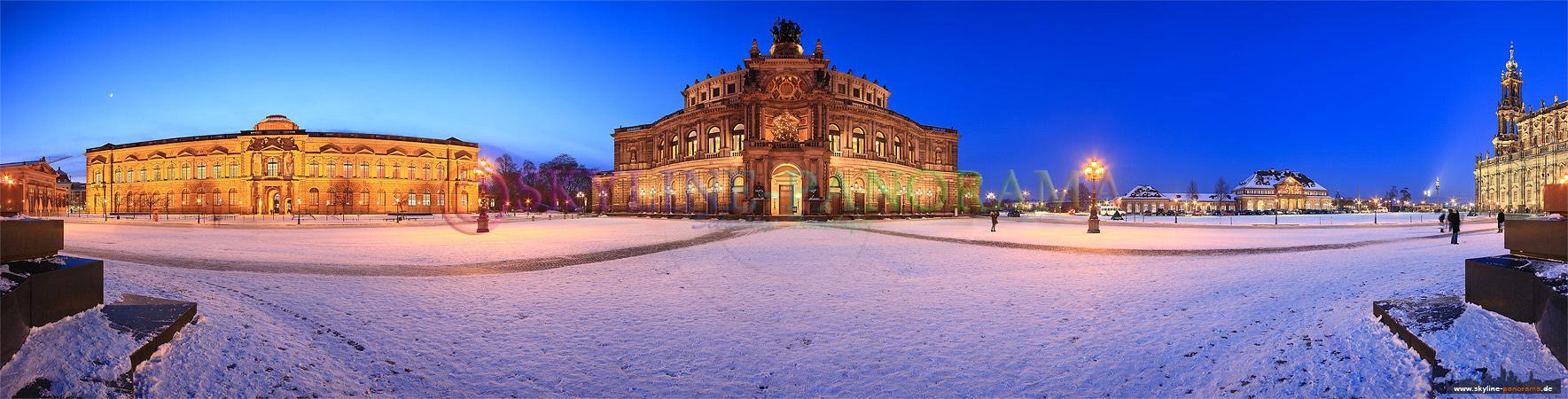 Dresden Semperoper verschneit im Winter - Die Dresdner Semperoper, eines der bekanntesten Sehenswürdigkeiten der Stadt, mit dem verschneiten Theaterplatz in der Dämmerung.