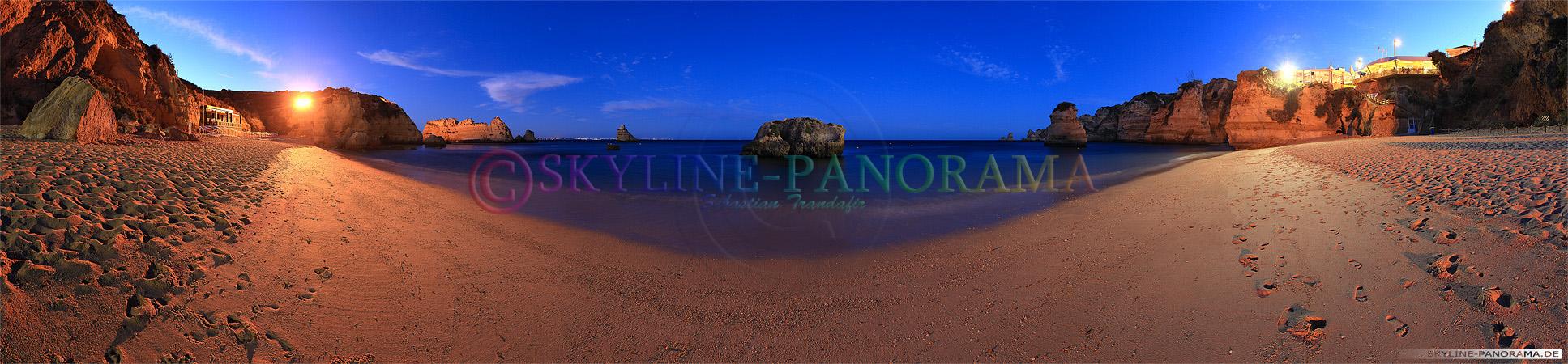 Portugal Bilder Algarve - Praia Donna Ana, ein schön gelegener Sandstrand bei Lagos nach Sonnenuntergang.