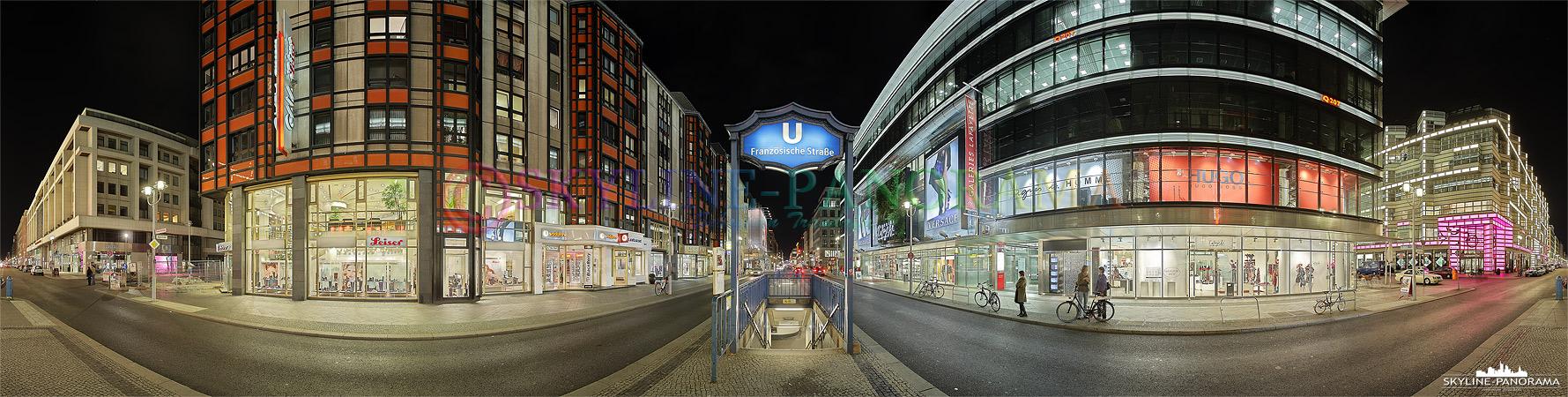 Panorama Bild - Berlin Friedrichstraße mit dem U-Bahnhof Französische Straße und dem Galeries Lafayette in Berlin Mitte in einer 360 Grad Ansicht festgehalten.
