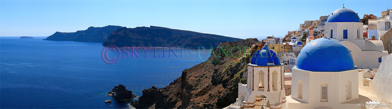 Blaue Kirchenkuppel - Kaum eine Kirchenkuppel auf Santorini ist nicht in den typischen und tratitionell griechischen Farben Weiß & Blau gestrichen.