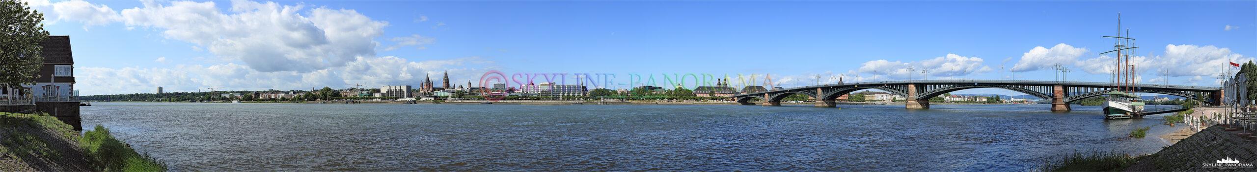 Skyline Mainz - Die Stadtansicht auf Mainz vom Rheinufer in Mainz Kastel gesehen.