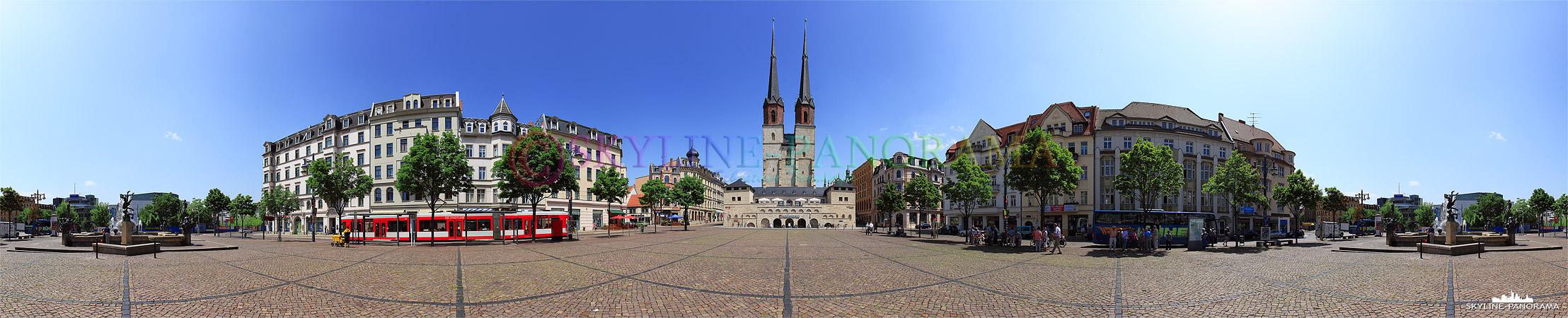 Panorama Halle (Saale) - Dieses Panorama zeigt den Hallmakt, dieser Platz ist unterhalb des Marktplatzes gelegen und gehört zu einen der ältesten Teile der Stadt - im Zenrum der Aufnahme ist die Marienkirche zu sehen.