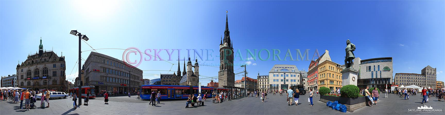 Bilder aus Halle - Dieses 360 Grad Panorama zeigt den Marktplatz von Halle (Saale) mit dem Stadthaus, der Marktkirche, dem Rotem Turm und dem Händel-Denkmal.