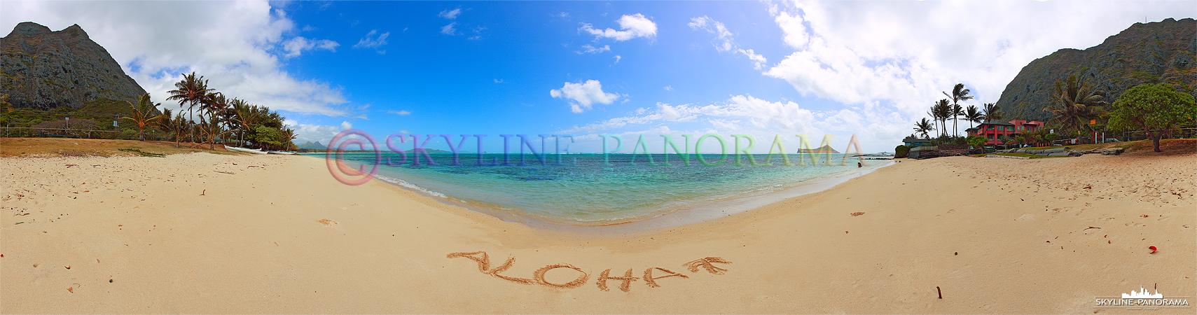 ALOHA Hawaii! - Willkommen auf der wunderschönen Inselkette mitten im pazifischen Ozean! Hier zu sehen ist ein Panorama am Tag vom Stand mit Palmen.