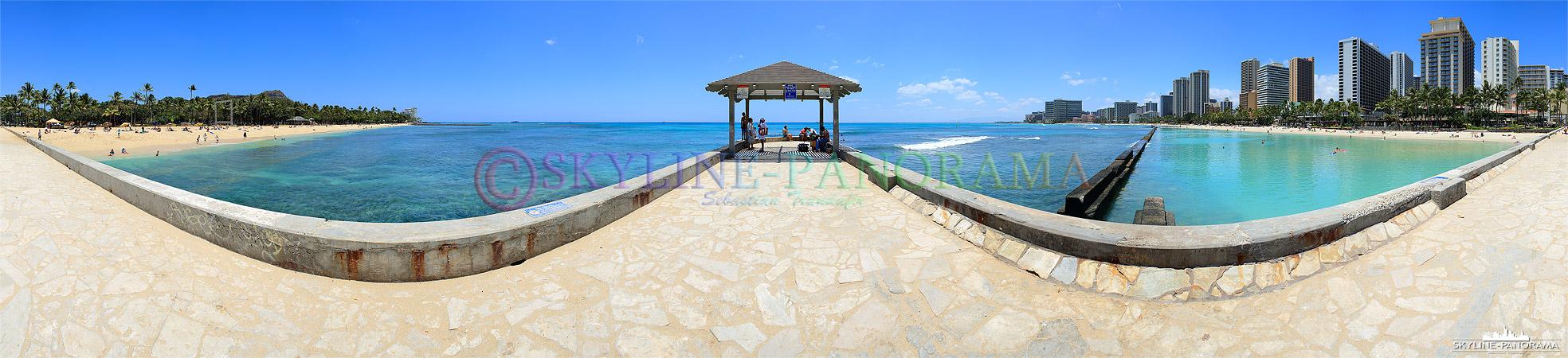 Bilder Hawaii - 360 Grad Panorama am beliebtesten Strand Hawaiis; der Waikiki Beach mit Blick vom Diamant Head bis zum Outrigger Reef.