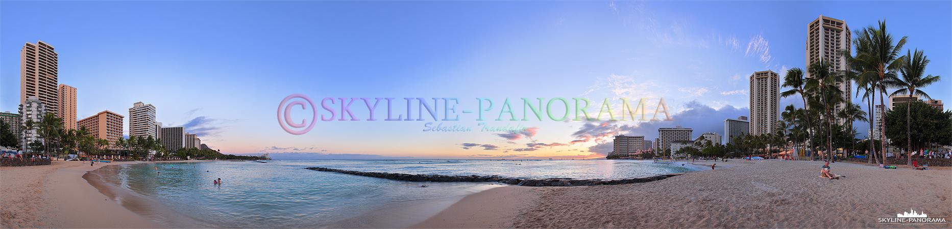 Sunset Bilder Hawaii - Dieses 360 Grad Panorama entstand zum Sonnenuntergang am berühmten Waikiki Beach auf O´ahu, der Hauptinsel der im Pazifik gelegenen hawaiianischen Inselkette.
