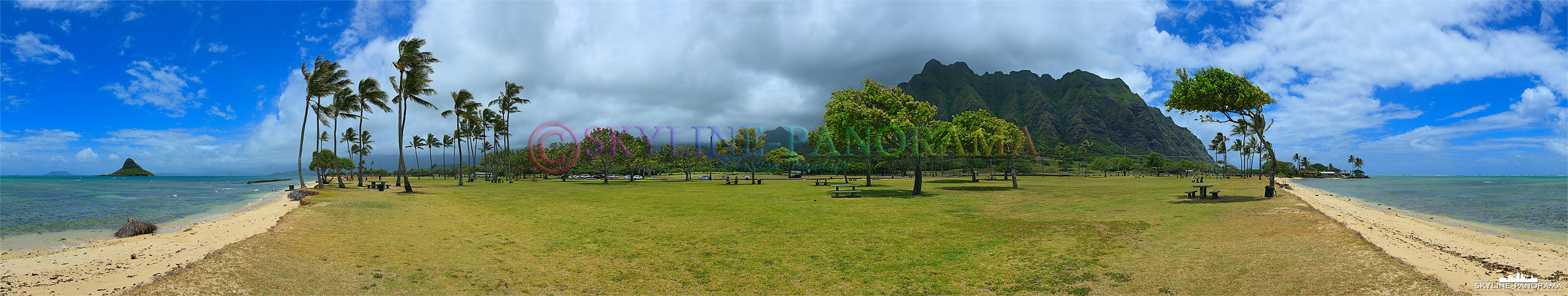 Bilder der Inselgruppe Hawaii - Dieses Panorama ist am Kualona Beach im Nordosten der Hauptinsel O´ahu entstanden.