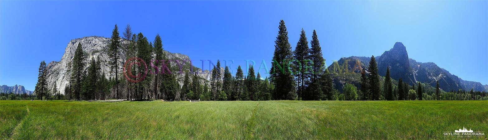 Bilder aus dem Yosemite Nationalpark - Das atemberaubende Panorama vom Yosemite Valley mit den satten Grasflächen im Tal des Yosemite National Parks California.