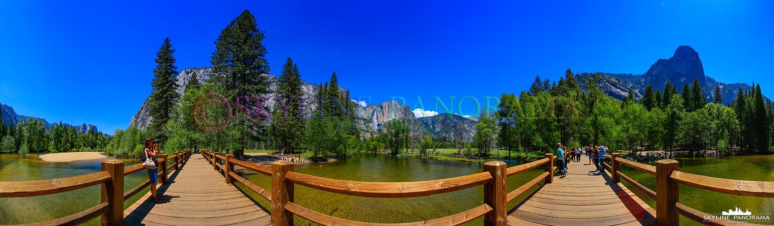 Bilder aus dem Yosemite Nationalpark - 360 Grad Panoramablick von der Swinging Bridge, einer Holzbrücke über den Merced River, auf die sehenswerte Landschaft...