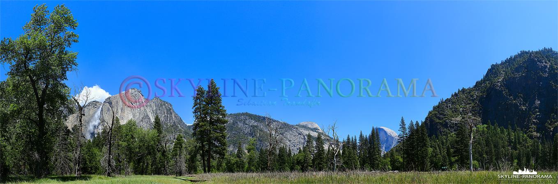 Bilder Yosemite Nationalpark - Zwei der beeindruckensten Sehenswürdigkeiten des Yosemite National Parks als Postkartenmotiv bei schönstem Wetter als Panorama...
