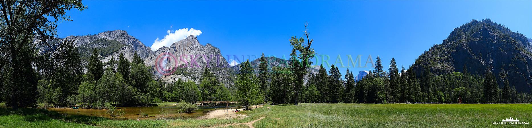 Bilder Yosemite Nationalpark - Vom südlichen Ufer des Merced Rivers, unweit der Sentinal Bridge, hat man einen tollen Ausblick auf das Yosemite Panorama...