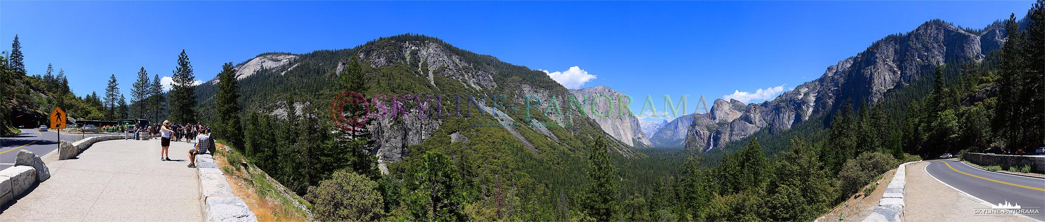 Bilder Yosemite Nationalpark - Hinter der südlichen Einfahrt in den Yosemite Park, nach dem ca. 1,3km langen Wawona Tunnel, befindet sich der Tunnel View Point.