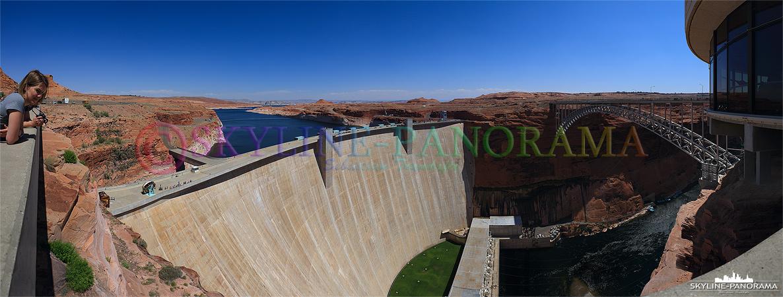 Panorama USA - Der Glen Canyon Dam staut das Wasser des Colorado River im Glen Canyon zum cirka 300km langen Lake Powell Stausee auf.