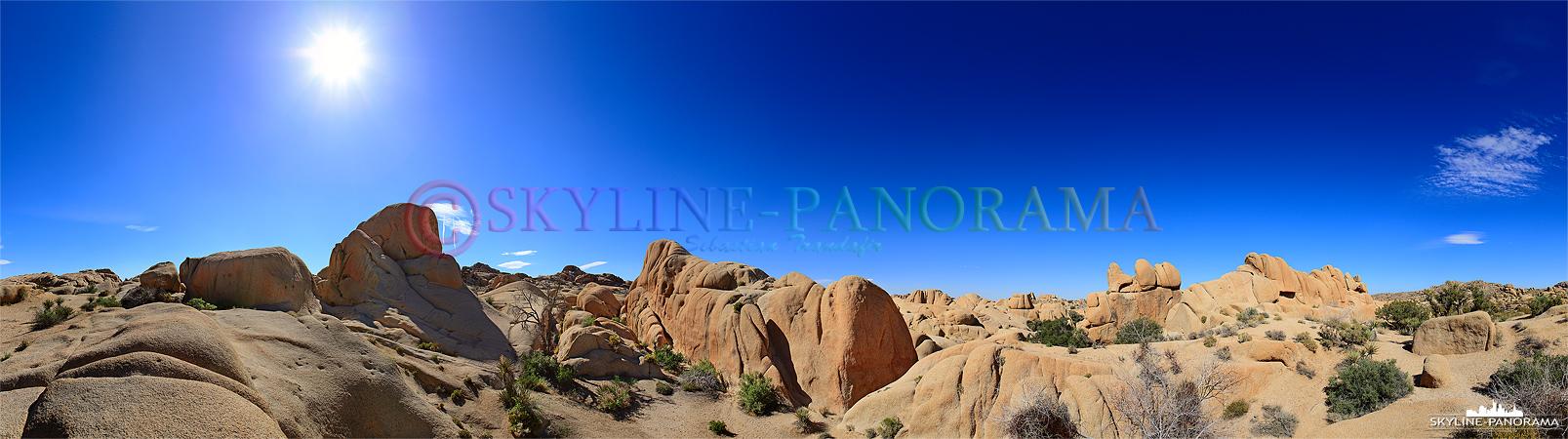 Die rund geschliffenen Granitfelsen und die Wüstenvegetation locken jährlich 1,9 Millionen Besucher in den 230km östlich von Los Angeles gelegenen Park.