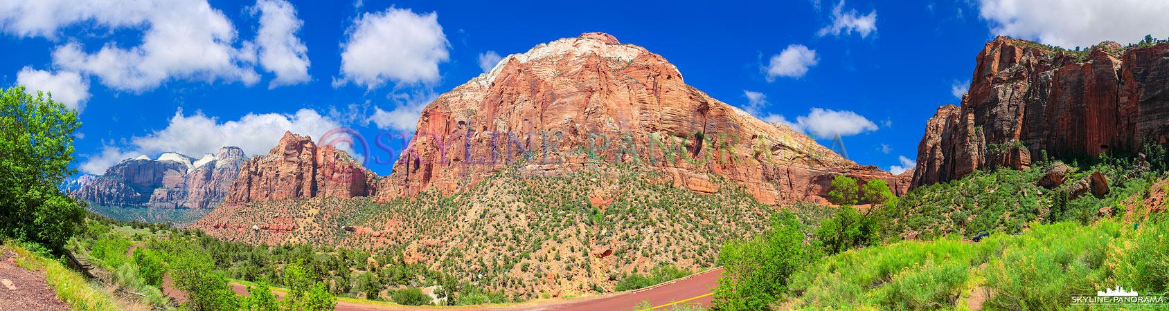 Bilder USA Westküste - Dieses Panorama entstand in den Bergen des Zion Nationalparks, an einem der zahlreichen Aussichtspunkte am Zion Park Boulevard.