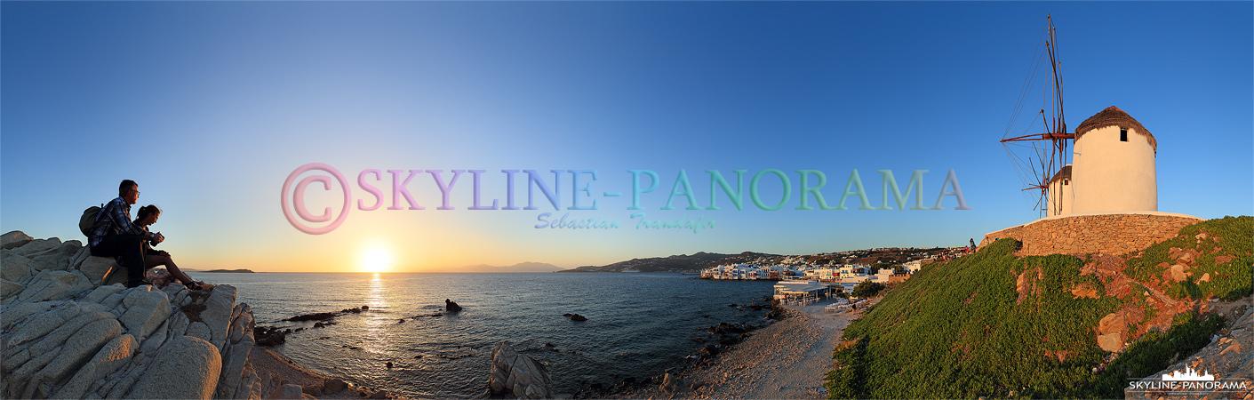 Bilder Griechenland - Der Hotspot, um den Sonnenuntergang von Mykonos zu erleben, sind die Felsen des unteren Mühlbergs mit den fünf Windmühlen Kato Myli.
