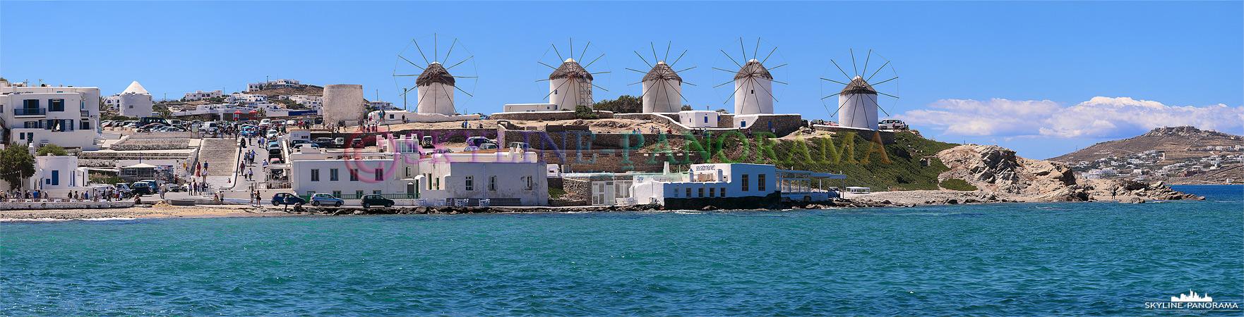 Spricht man von Mykonos, sind die Windmühlen das Erkennungszeichen der Kykladeninsel; schon hoch über der Stadt, im Anflug, kann man das Wahrzeichen erkennen.