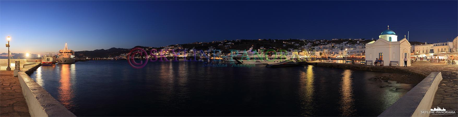 Der Alte Hafen von Mykonos ist nur noch ein Yachthafen, die Kreuzfahrtschiffe kommen an dem ca. 3km außerhalb von Mykonos Stadt gelegenen Neuen Hafen an.