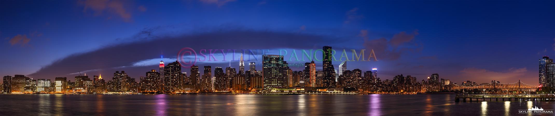Manhattan Panorama - Einer der interessantesten Aussichtspunkte um die weltbekannte Skyline von Manhattan betrachten zu können, ist der Gantry Plaza State Park in New York - Queens.
