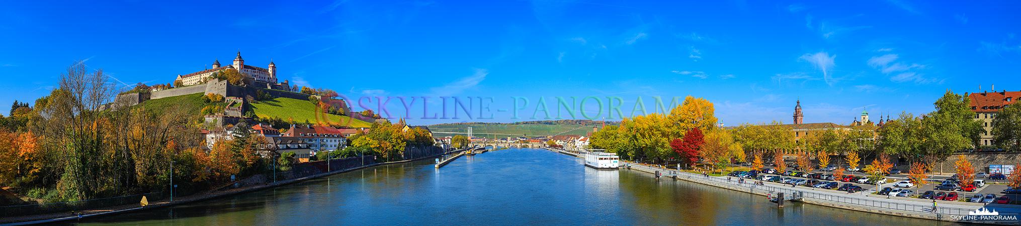 Festung Marienberg - Panorama Ansicht von der Ludwigbrücke auf die Festung Marienberg und das herbstliche Mainufer von Würzburg.