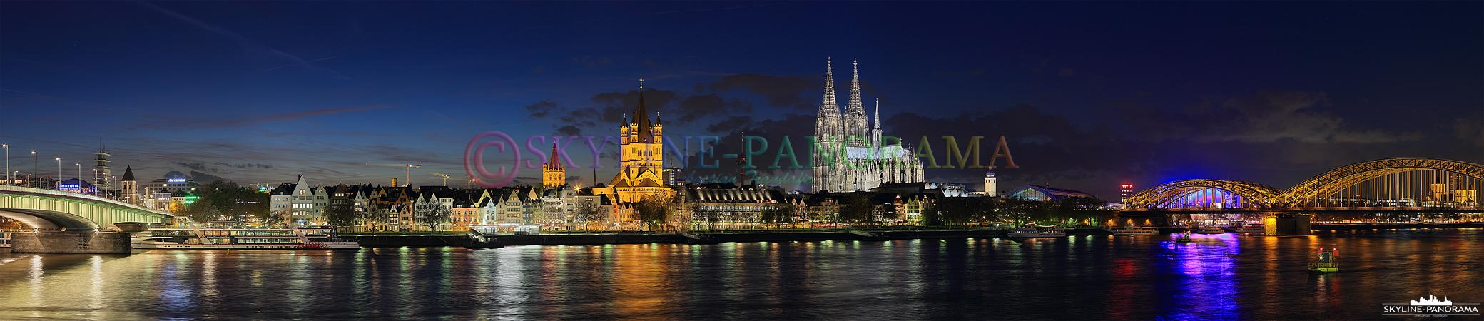 Das Altstadt Panorama von Köln mit dem wahrscheinlich bekanntesten Wahrzeichen einer Stadt und Platz eins der deutschen Sehenswürdigkeiten, dem Kölner Dom.