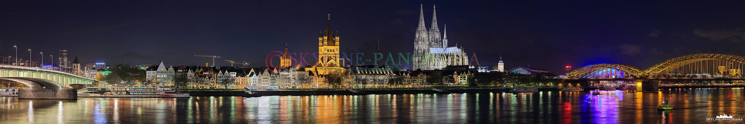 Skyline von Rheinufer - Das Panorama zeigt den Blick auf die Kölner Altstadt Silhouette vom Rheinufer zwischen der Deutzer Brücke und Hohenzollernbrücke. Dieses Panorama ist auf Grund einer hohen Auflösung von 8.768 x 52.301 Pixel sehr gut für den Druck als Großformat von mehreren Metern Länge geeignet.