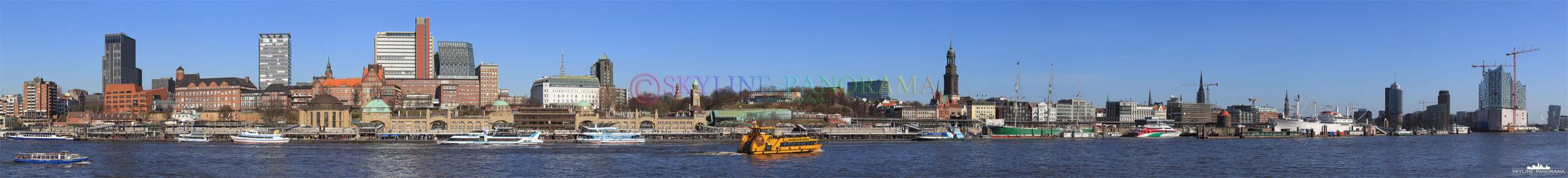 Bilder aus Hamburg - Die Hamburger Skyline am Tag mit den Landungsbrücken, dem Pegelturm, dem Michel bis hin zur Elbphilharmonie.