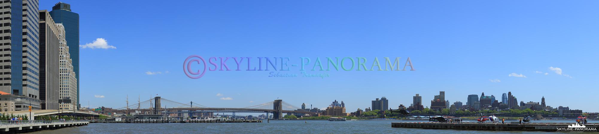 New York City - Blick vom Heliport in Downtown Manhattan zur Brooklyn Bridge.