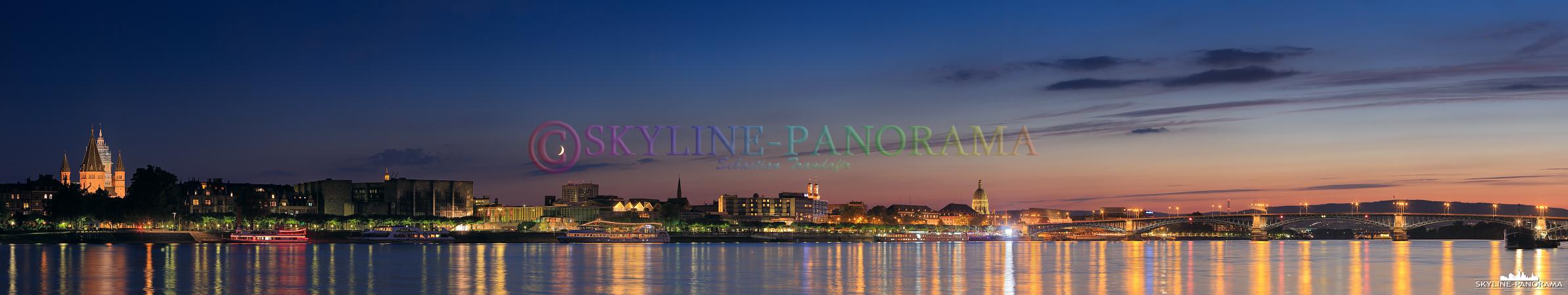 Bilder Deutschland - Nächtliches Panorama von Mainz, der Landeshauptstadt von Rheinland Pfalz.