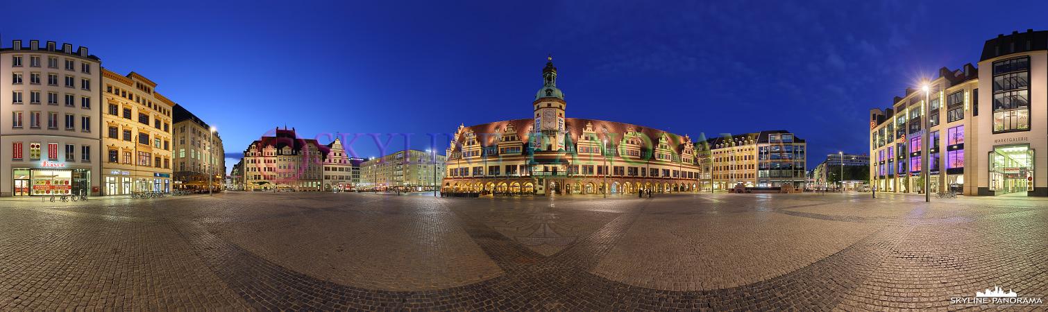 Panorama Leipzig – Der Markt von Leipzig mit dem Alten Rathaus als abendliches 360 Grad Panorama.