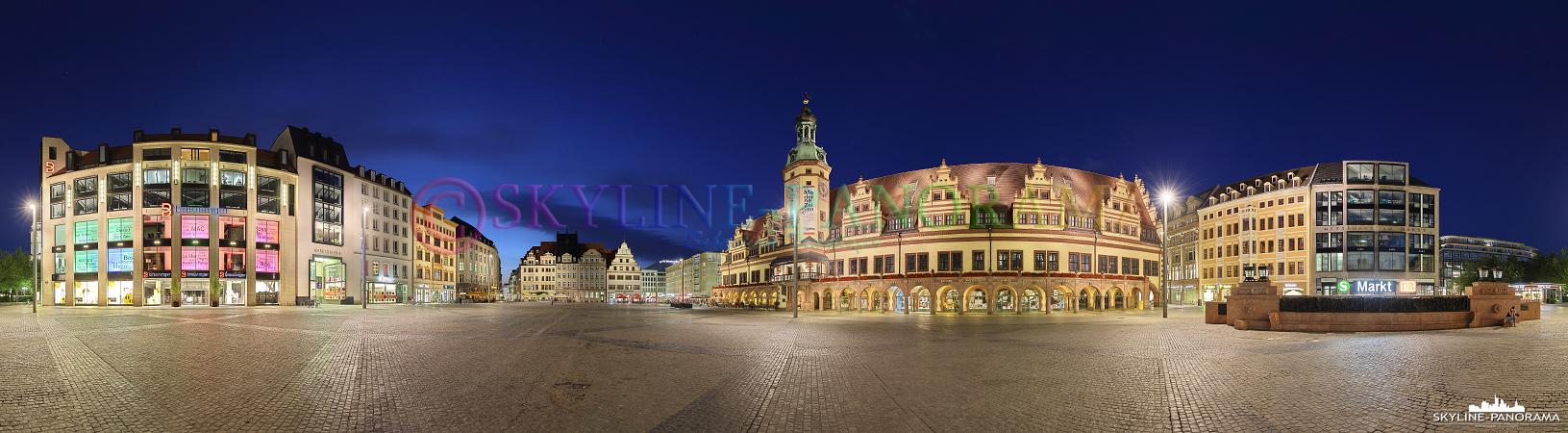 Auf dem Markt von Leipzig findet man einige der bedeutendsten Gebäude der sächsischen Metropole, zu erwähnen sind das Alte Rathaus mit der unsymmetrischen Frontansicht und die historische Alte Waage.