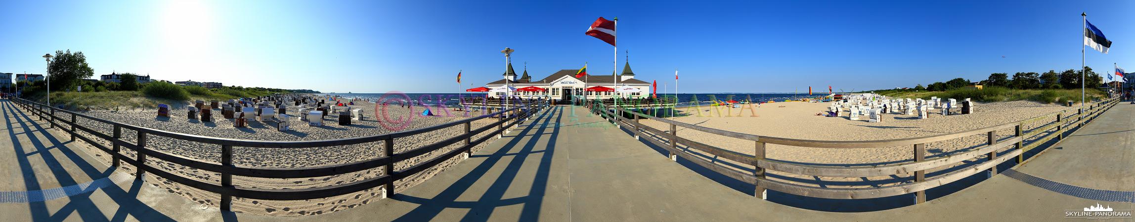 Insel Usedom - 360 Grad Strandpanorama mit der historischen Seebrücke von Ahlbeck.